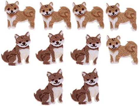 パッチ バッジ 布ステッカー 刺繍 アイロンオン 動物の形 手作り バックパック飾り 10個 全8種 - 柴犬