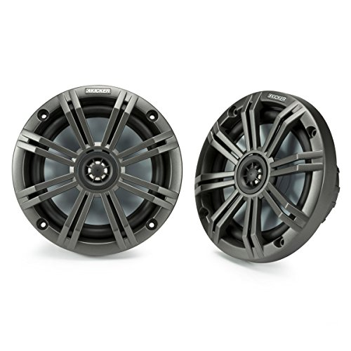 Kicker KM65 6.5-Inch (165mm) Marine Coaxial Speakers with 3/4-Inch (20mm) Tweeters, 4-Ohm, Charcoal and White Grilles (Kickers White)
