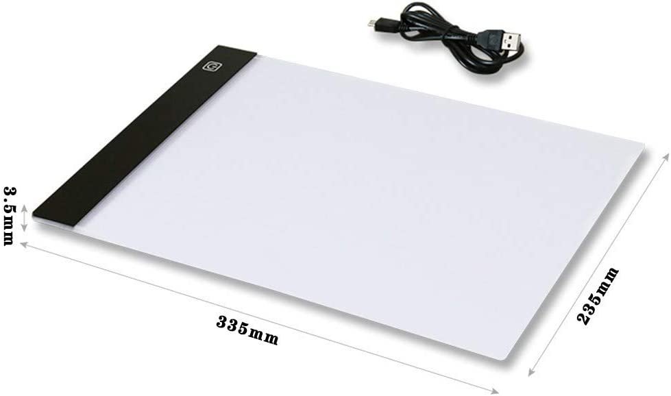 Tracing Light Box USB Power Cable Dimmable Brightness LED Artcraft Tracing Light Box Light Pad for Drawing Sketching for Kids Boys and Girls 77JOK A4 Ultra-Thin Portable LED Light Box White