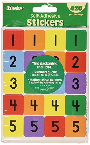 Eureka Classroom Supplies 1 to 100 Number Stickers for Kids, 420pc ()