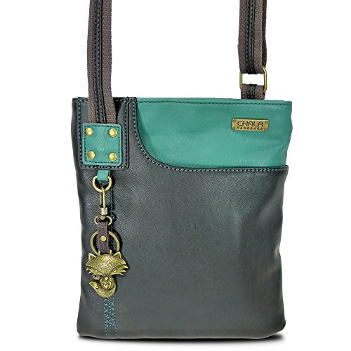 New Chala Crossbody SWING Bag Vegan Leather (Cat, Turtle, Owl, Dragonfly) Group (Teal-Fox) (Dragon Leather Green)