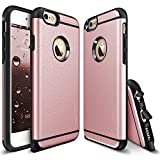 iPhone 6 Plus Case - Rinastore [Heavy Duty] Dual Layer Air Cushion Hard Plastic TPU Protective Case Bumper with Dust Plug Design for iPhone 6 Plus/6s plus (5.5 inch) (Rose Gold)