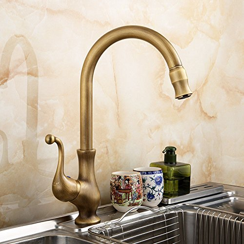 SHLONG Tap Antique Copper Faucet redating Hot and Cold Kitchen Faucet Single Handle Single Hole