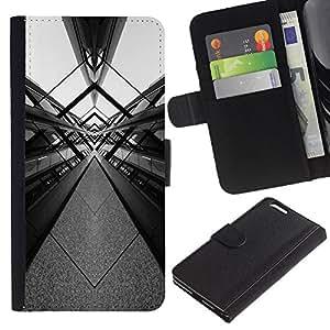 A-type (White Design Architecture Art) Colorida Impresión Funda Cuero Monedero Caja Bolsa Cubierta Caja Piel Card Slots Para Apple (5.5 inches!!!) iPhone 6+ Plus / 6S+ Plus