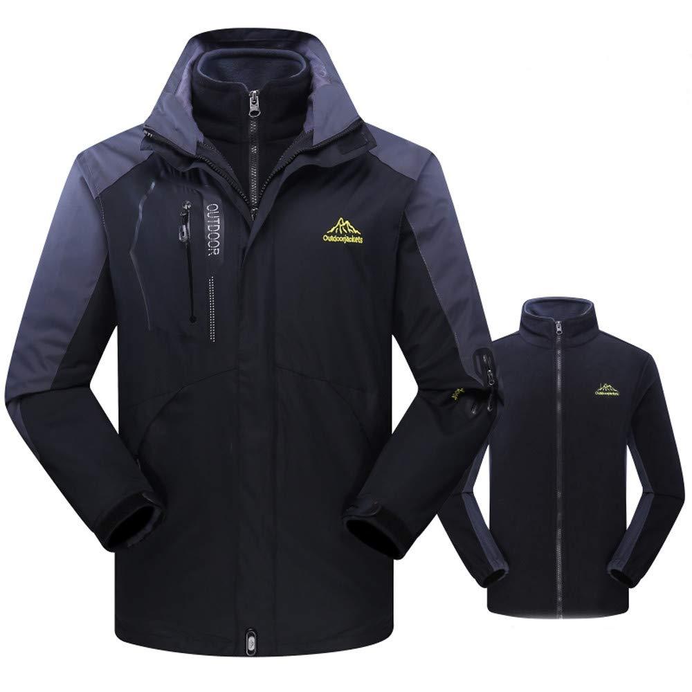Noir 5XL Keepwin Homme Imperméable Veste en Molleton Extérieur Plus Taille Sweat à Capuche Deux Pièces Set Sport d'assaut Manteau