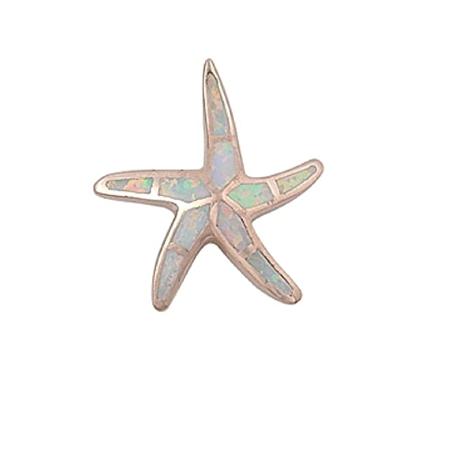 CloseoutWarehouse Simulated Opal Starfish Pendant Sterling Silver