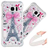 S7 Edge Case, 3D Cute Painted Glitter Liquid Sparkle Floating Luxury Bling Quicksand Shockproof Protective Bumper Silicone Case Cover for Samsung Galaxy S7 Edge SM-G935. Liquid - Bow Tower