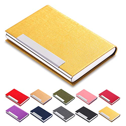 - Business Card Holder Luxury Leather-Stainless - Name Card Holder Luxury PU Leather & Stainless Steel Multi Card Case Wallet Credit Card ID Case/Holder for Men & Women (Gold)