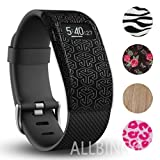 Fitbit Charge/HR Band Sock - More Styled and Super Cute - Fitbit Charge/Fitbit Charge HR Silicone Secure Band Cover Accessory with Different Colors and Patterns - Personalize Fitbit Charge/HR Wristband (Black Arrow x1)