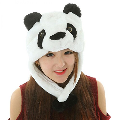 Panda_Pom-Pom Winter Animal Hat Fashion Cap Animal Plush Fluffy Warm 100% Polyester (US - Texas Rock Round Outlet