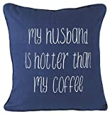 How Big Is a European King Size Bed YugTex Pillowcases My husband is hotter Funny Embroidered Throw Pillow Cover Gifts for his him men Quote Decorative pillowcase Wedding Anniversary Husband Hubby Cushion Cover (18