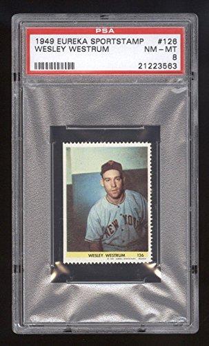 - 1949 Eureka Sportstamp Wesley Westrum RC PSA 8 NM-MT #21223563 POP 4 Higher - Baseball Slabbed Vintage Cards