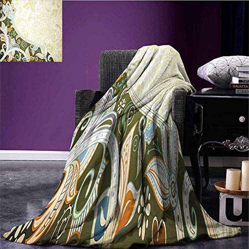 RenteriaDecor Olive Green Throw Blanket Abstract Floral Pattern Leaves and Stripes Asian Inspirations Curvy Oriental Print Summer Quilt Comforter Multicolor Bed or Couch 62