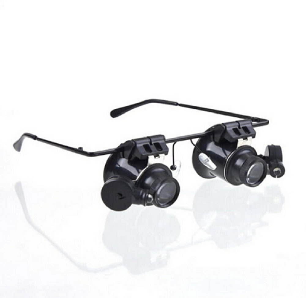 Hosaire Watch Repair Magnifier Eyewear Loupe Glasses 20X with LED Light Mechanical Processing, Electronic Repair, Jewelry Appraisal, Timepieces Repair and Miniature Engraving
