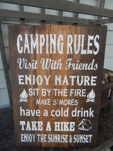 Camping Rules Painted Sign made our list of Inspirational And Funny Camping Quotes