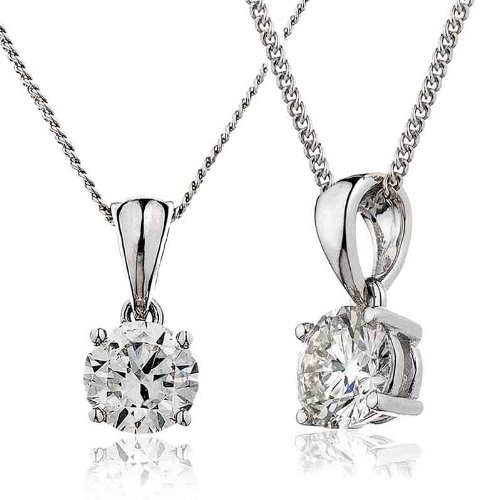 0.40CT Certified G/VS2 Round Brilliant Cut Claw Set Solitaire Diamond Pendant in 18K White Gold