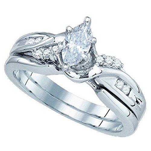 0.50 Carat (ctw) 14K White Gold Diamond Bridal Ring Set Matching Band With 0.38 CT Marquise Center 1/2 CT -
