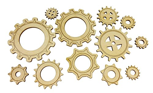 12pc. set of Wooden Gears - Cool Industrial & Steampunk Design - Laser-cut Thin Birch Plywood