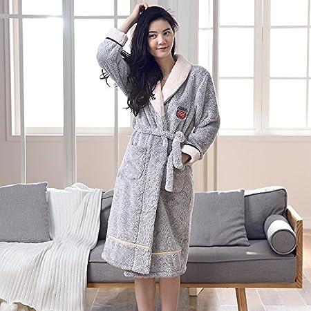 KK MM Nightgown Coelvet thicker plus long-sleeved bathrobe autumn and winter  women sexy warm flannel 6b1ca78a6