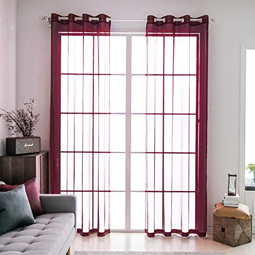 MIULEE 2 Panels Solid Color Wine Red Sheer Curtains Elegant Grommet Top Window Voile Panels/Drapes/Treatment for Bedroom Living Room (54X96 Inches) (Red Voile Panels)