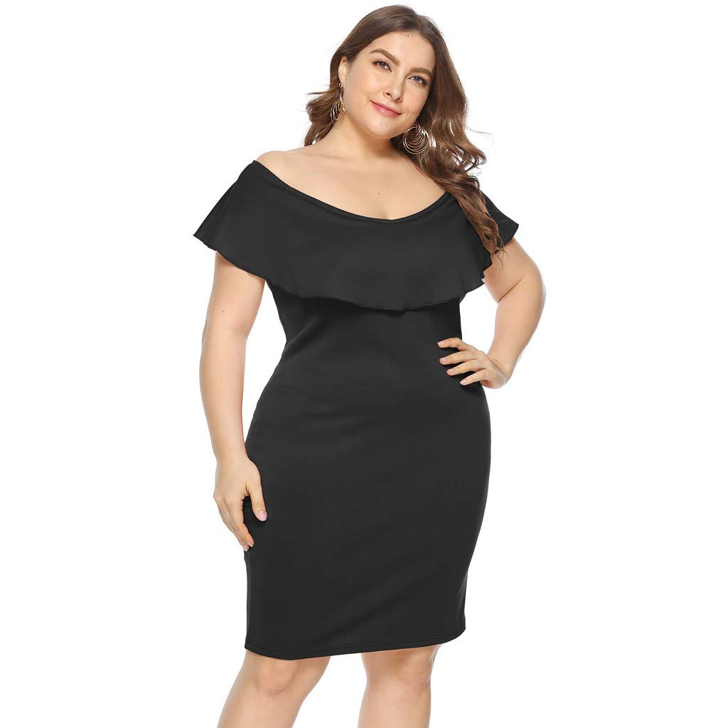ZOMUSAR 2019 Women Plus Size Sexy Cold Shoulder Dress Solid Ruffle Pleated Mini Dress Black