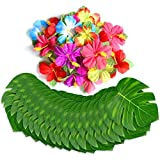 60 Pcs Tropical Party Decoration Supplies 8'' Tropical Palm Leaves and Hibiscus Flowers, Simulation Leaf for Hawaiian Luau Party Jungle Beach Theme Table Decorations