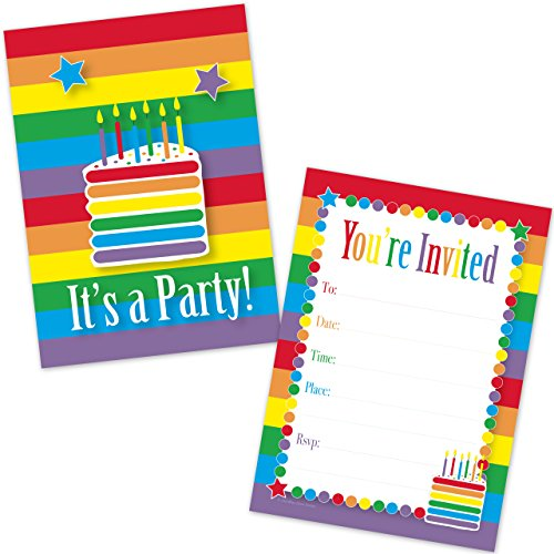 Rainbow Cake Birthday Invitations for Girls (20 Count