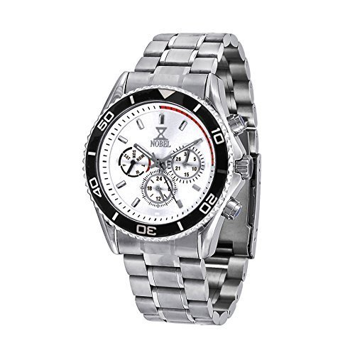 Nobel Men's EZ624GW Chronograph Display Stainless Steel Multi-Function Watch, Christmas Gift for Him