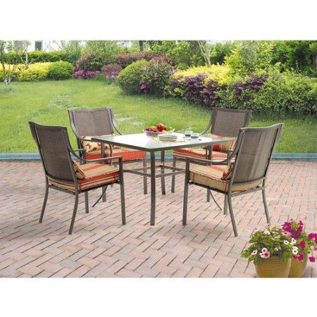 5-Piece Patio Dining Set, Seats 4 in Red Stripe with Butterflies