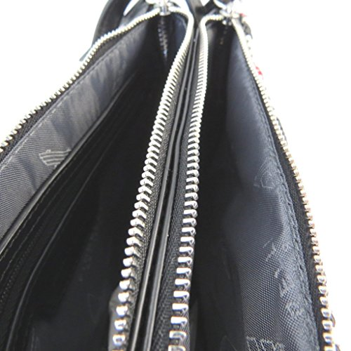 Bolso de hombro 'Fiorelli'negro blanco rojo (2 compartimentos)- 22x15.5x3 cm.