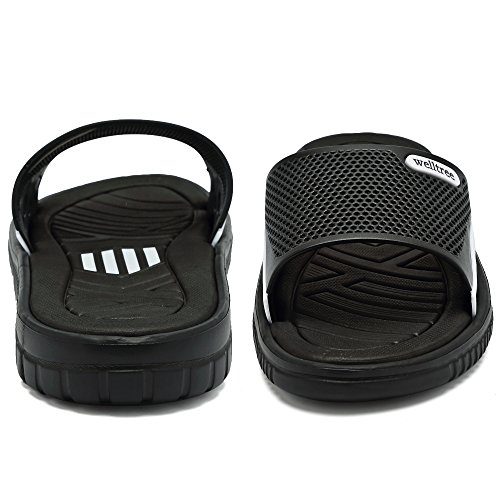 welltree Men's Slide Slipper Shower/Pool / Beach/Garden Quick Drying Sandal 7 D(M) US Men / 40 Black by welltree (Image #5)