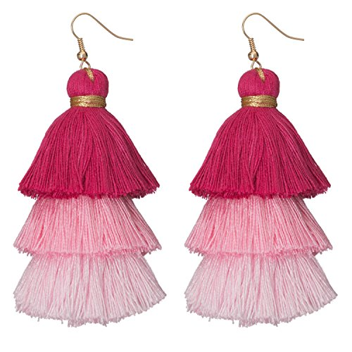 Necklace Fish Beaded (Occasionally Made Ombre Tassel Earrings, Pink)