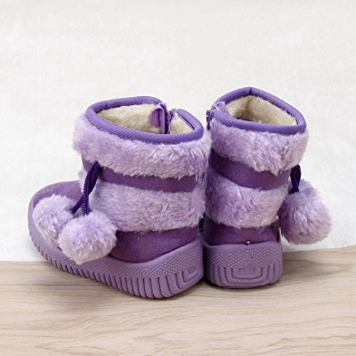 Jamicy® Mädchen Schneestiefel Ball Baumwolle Mode Winter Baby Kind Stil Baumwolle Stiefel warme Lila