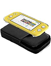 7 in 1 Carrying Case for Nintendo Switch Lite, Switch Accessory Bundle with Carrying Case, Thumb Grips, Dockable Case, Tempered Glass, Screen Cleaning Wipe - Black