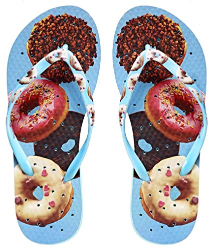 Showaflops Womens' Antimicrobial Shower & Water Sandals for Pool, Beach, Dorm and Gym - Donut Shop 5/6