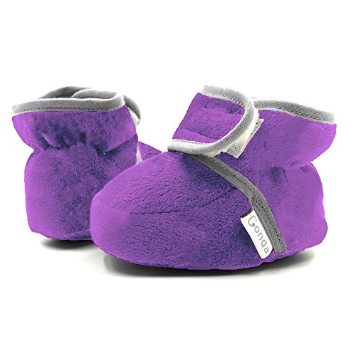 CONDA Baby Booties Girl & Boy Infant Fleece Slippers - Purple Soft Cozy and Colorful Baby Shoes 0-6 Months