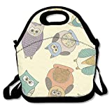 Xyou Neoprene Lunch ToteAdjustable Shoulder Strap Owls Rotate Carrying Gourmet Lunchbox Container,Reusable Insulated