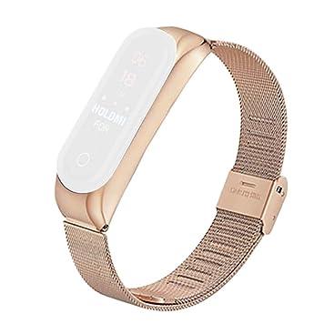 Zolimx Para Xiaomi Huami Amazfit Bip Smartwatch Acero Inoxidable Amazfit Bip Correa Reloj (Oro rosa)