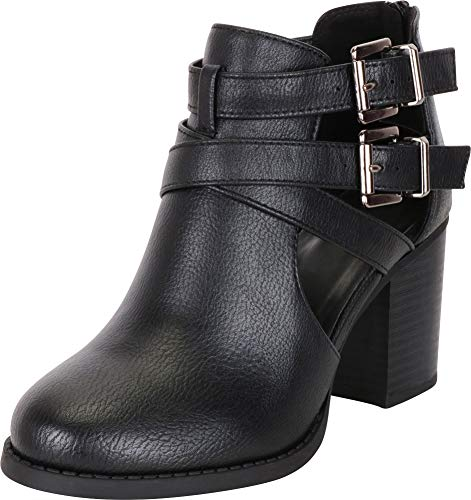 Cambridge Select Women's Buckle Side Cut Out Chunky Stacked Heel Ankle Bootie (8 B(M) US, Black Smooth PU)