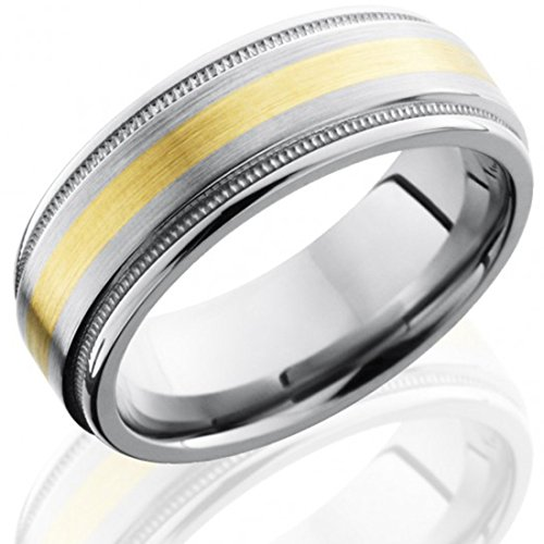 Titanium 8mm Flat Band with Rounded Edges, Milgrain, and 2mm 14K Yellow Gold inlay (8mm Rounded Band)