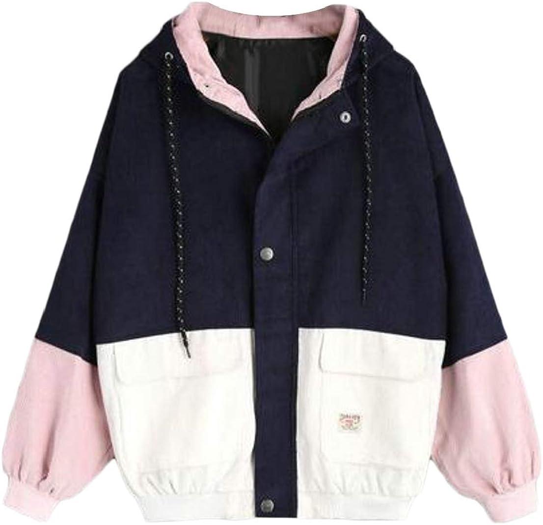 Generic Womens Raglan Sleeve Color Block Corduroy Baseball Hooded Jacket Coat 1 2XL