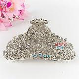 Beautyxyz Fancy White Rhinestone Crystal High quality Metal paisley hair claw clip pin (white)
