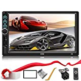 Double Din Car Stereo Upgrade 7 inch Touch Screen Car Radio MP5/4/3 Player FM Radio Video Audio Bluetooth Support Rear-View Camera Remote Control Mirror Link Android & iPhone