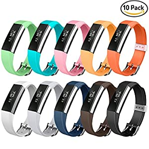 NEWLIBO Fitbit Alta and Alta HR Bands, Alta Accessory Replacement Wristband w/Secure Buckle Clasp, Fit bit Alta and HR Smart Fitness Watch Large Small Men Women Kids,10 pack Smooth Textured(John1-12)