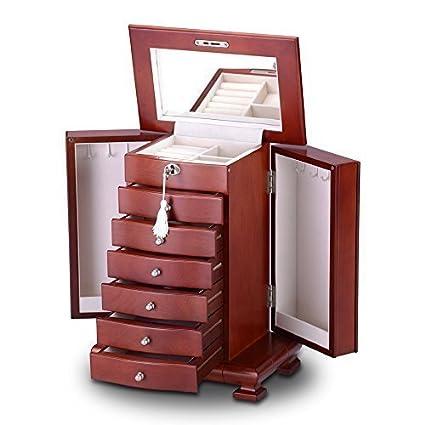 Joyero Elegante de Madera con Llave, Rojo Cereza Caja Joyero Almacenamiento Organizador