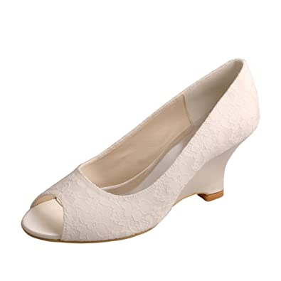 Wedopus MW1009 Women s Lace Peep Toe Wedge Heel Wedding Pumps Bridal Shoes  Ivory Size 5 b983919dc6bf