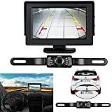 ZSMJ Backup Camera and Monitor Kit For Car,Universal Waterproof Rear-view License Plate Car Rear Backup Camera + 4.3 LCD Rear View Monitor