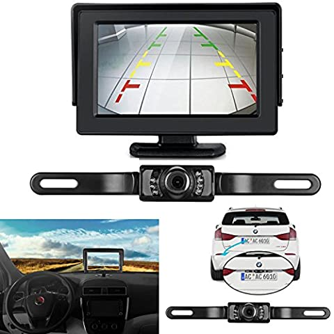 ZSMJ Backup Camera and Monitor Kit For Car,Universal Waterproof Rear-view License Plate Car Rear Backup Camera + 4.3 LCD Rear View (Backup Camera Multi Input)