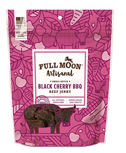 8 Ounce Cherry (Full Moon Artisanal All Natural Human Grade Jerky Dog Treats, Black Cherry BBQ Beef, 8 Ounce)