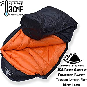 800 Fill Power Goose Down Sleeping Bag for Backpacking – Eolus 15/30 Degree F Ultralight, Down Filled 3 Season Men's and Women's Lightweight Mummy Bags (30 Degree - Black/Clementine, Short)